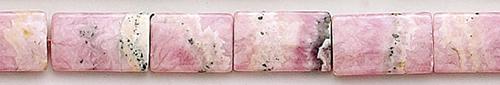 Design 8244: black,pink rhodocrosite rectangular beads
