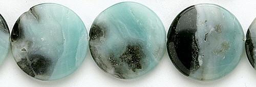Design 8258: blue, black amazonite coin beads
