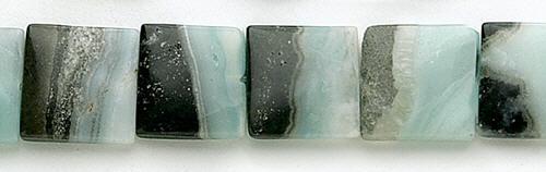 Design 8260: black,blue amazonite square beads