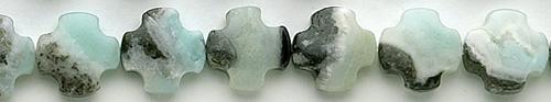 Design 8263: blue, black amazonite square beads