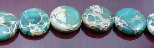 Design 8277: brown,green jasper coin beads