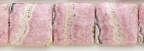 Design 8356: pink, black rhodocrosite square beads