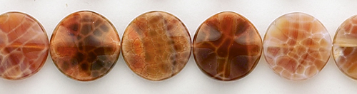 Design 8406: red, orange agate coin beads