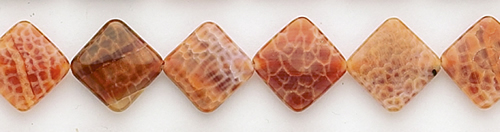 Design 8409: red, orange agate square beads