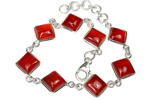 Design 1109: red carnelian art-deco bracelets