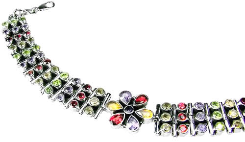 Design 1114: multi-color multi-stone flower bracelets