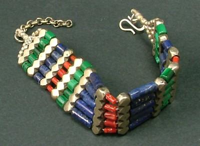 Design 1269: green,red,blue lapis lazuli bracelets