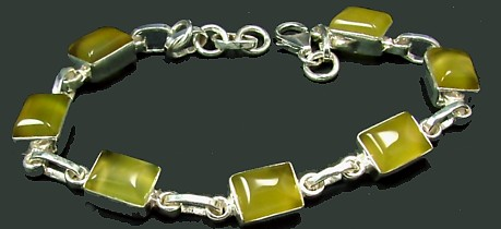 Design 1280: yellow chalcedony art-deco bracelets