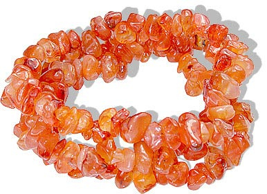 Design 1475: orange carnelian chipped bracelets