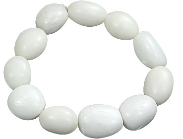 Design 15656: white snow quartz stretch bracelets