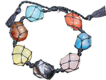 Design 15658: multi-color multi-stone stretch bracelets