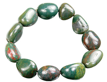 Design 15659: green,red bloodstone stretch bracelets
