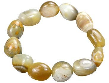 Design 15669: gray,white,yellow agate stretch bracelets