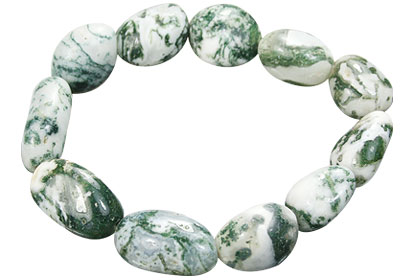Design 15681: green,white agate stretch bracelets