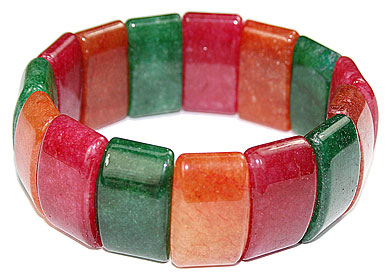 Design 16055: green,orange,red amethyst chunky bracelets
