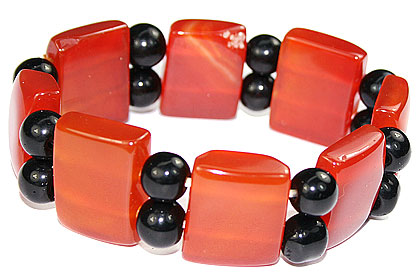 Design 16059: black,red,yellow multi-stone chunky bracelets