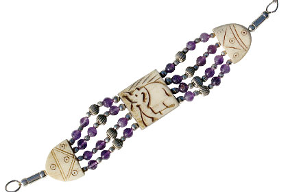 Design 16078: brown,purple bone ethnic bracelets