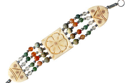 Design 16087: multi-color multi-stone multistrand bracelets