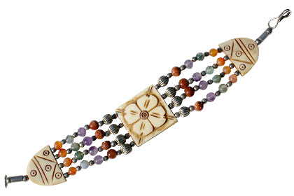 Design 16088: multi-color multi-stone ethnic bracelets