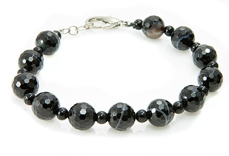 Design 17386: black banded onyx bracelets