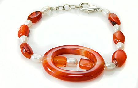 Design 17391: orange carnelian bracelets