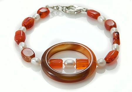 Design 17392: orange carnelian bracelets