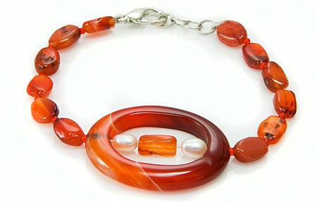 Design 17393: orange carnelian bracelets