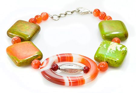 Design 17396: green,orange multi bracelets