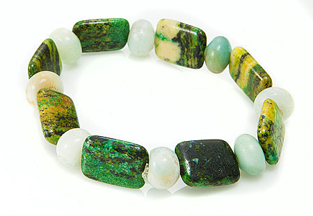 Design 17399: green chrysoprase bracelets