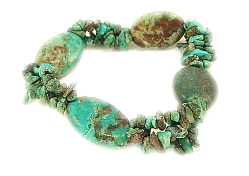 Design 3057: brown,green turquoise american-southwest, chipped, stretch, tribal bracelets