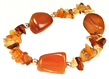 Design 3065: orange carnelian chipped, stretch bracelets