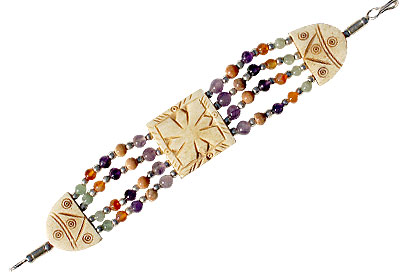 Design 54: green,orange,purple bone chunky bracelets