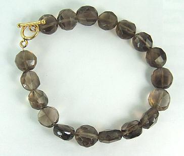 Design 6470: brown,gray smoky quartz bracelets