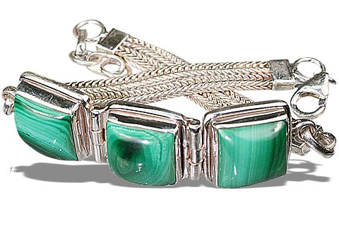 Design 6823: green, silver malachite bracelets