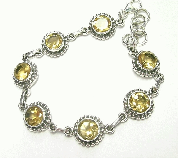 Design 6908: yellow citrine engagement, wedding bracelets