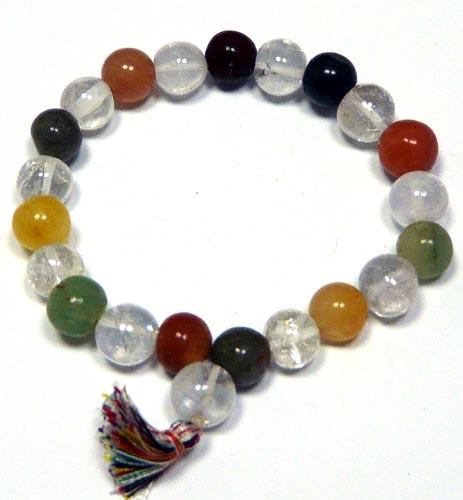 Design 7493: green,white multi-stone stretch bracelets