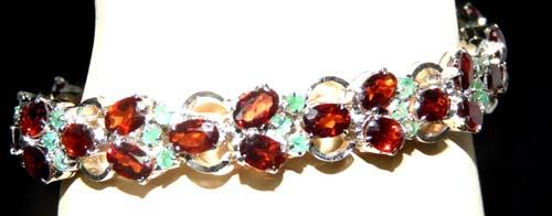 Design 7556: Maroon, Green garnet bracelets
