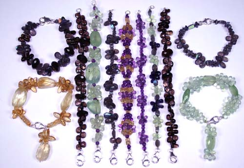 Design 7627: Green, Yellow, Purple, Brown bulk lots bracelets