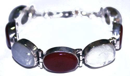 Design 7662: red,white moonstone bracelets