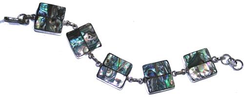 Design 7668: White, Green abalone bracelets