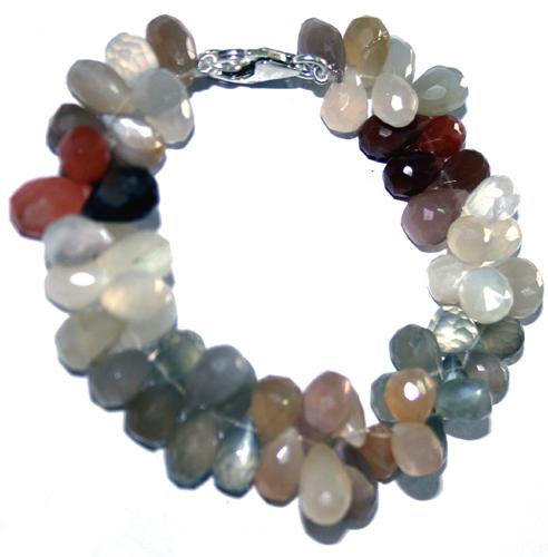 Design 7716: Green, Brown moonstone bracelets