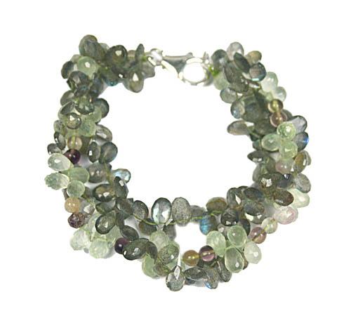 Design 7766: green prehnite drop bracelets