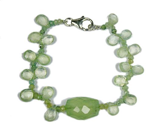 Design 7769: Green prehnite bracelets