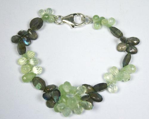 Design 7770: Green, Grey prehnite drop bracelets