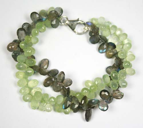 Design 7771: Green, Grey prehnite drop, multistrand bracelets