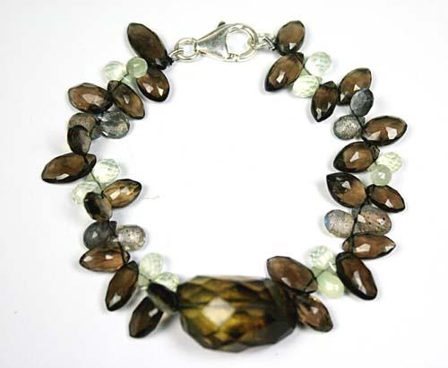 Design 7779: Brown, Green smoky quartz drop bracelets
