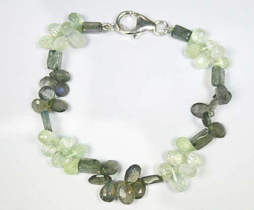 Design 7781: Green, Grey prehnite drop bracelets