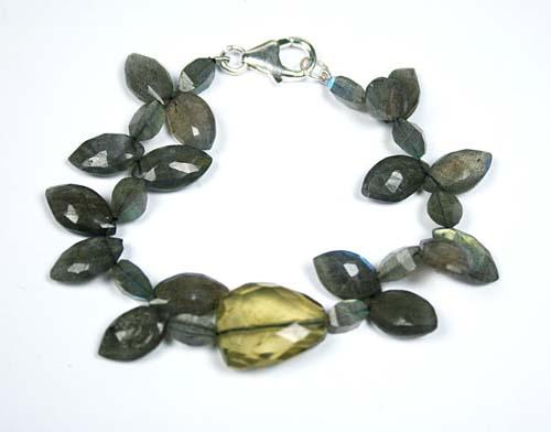 Design 7784: Grey, Yellow labradorite bracelets