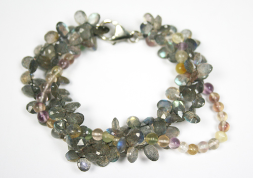 Design 7785: Grey labradorite drop, multistrand bracelets
