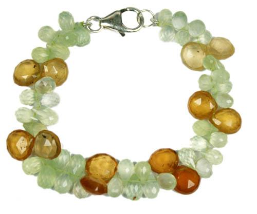 Design 7786: Green, Yellow prehnite drop bracelets